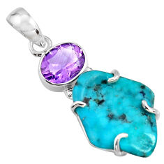 13.69cts green sleeping beauty turquoise amethyst 925 silver pendant r14331