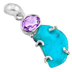11.93cts green sleeping beauty turquoise amethyst 925 silver pendant r14334