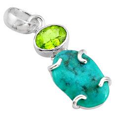 10.84cts green sleeping beauty turquoise peridot 925 silver pendant r14336