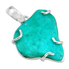14.73cts blue sleeping beauty turquoise 925 sterling silver pendant r14350