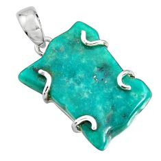 19.29cts blue sleeping beauty turquoise 925 sterling silver pendant r14375