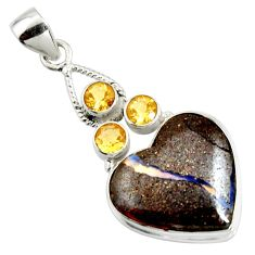 22.05cts natural brown boulder opal citrine 925 sterling silver pendant r14438