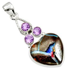 25.57cts natural brown boulder opal purple amethyst 925 silver pendant r14439