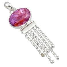 12.89cts natural purple cacoxenite super seven oval 925 silver pendant r14443