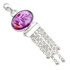 13.71cts natural purple cacoxenite super seven 925 silver pendant r14449