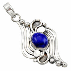 4.21cts natural blue lapis lazuli 925 sterling silver pendant jewelry r14481