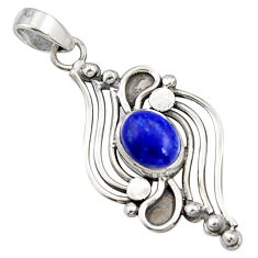 4.21cts natural blue lapis lazuli 925 sterling silver pendant jewelry r14482