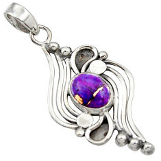 3.68cts purple copper turquoise 925 sterling silver pendant jewelry r14484