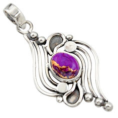 3.52cts purple copper turquoise 925 sterling silver pendant jewelry r14485
