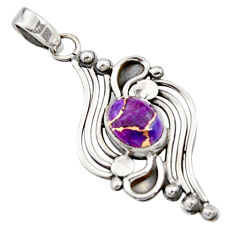 3.52cts purple copper turquoise 925 sterling silver pendant jewelry r14486