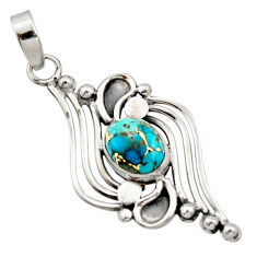 925 sterling silver 3.72cts blue copper turquoise oval pendant jewelry r14487