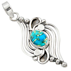 3.52cts blue copper turquoise 925 sterling silver pendant jewelry r14488