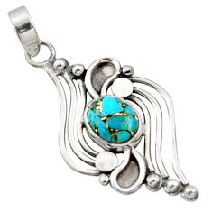 3.54cts blue copper turquoise 925 sterling silver pendant jewelry r14489