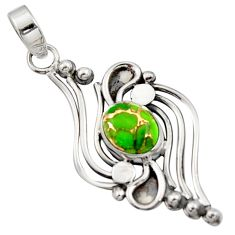 3.51cts green copper turquoise 925 sterling silver pendant jewelry r14492