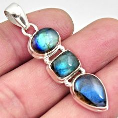 12.06cts natural blue labradorite 925 sterling silver pendant jewelry r14494