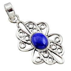 4.23cts natural blue lapis lazuli 925 sterling silver pendant jewelry r14501