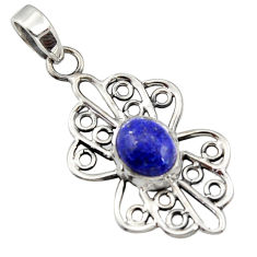 4.10cts natural blue lapis lazuli 925 sterling silver pendant jewelry r14502