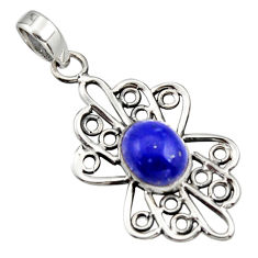 4.52cts natural blue lapis lazuli 925 sterling silver pendant jewelry r14503