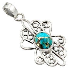 3.50cts blue copper turquoise 925 sterling silver pendant jewelry r14505