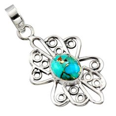 3.85cts blue copper turquoise 925 sterling silver pendant jewelry r14506
