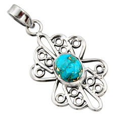 3.50cts blue copper turquoise 925 sterling silver pendant jewelry r14508
