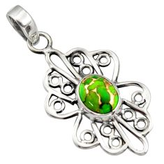 3.32cts green copper turquoise 925 sterling silver pendant jewelry r14510