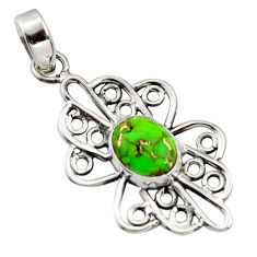 3.50cts green copper turquoise 925 sterling silver pendant jewelry r14511