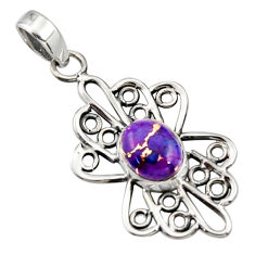 3.48cts purple copper turquoise 925 sterling silver pendant jewelry r14513