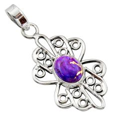3.62cts purple copper turquoise 925 sterling silver pendant jewelry r14514