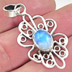 4.29cts natural rainbow moonstone 925 sterling silver pendant jewelry r14516