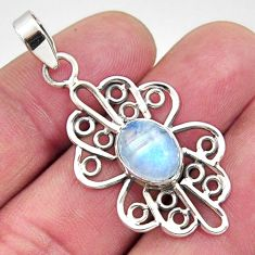 925 sterling silver 4.06cts natural rainbow moonstone pendant jewelry r14518