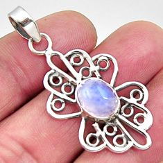 4.31cts natural rainbow moonstone 925 sterling silver pendant jewelry r14520