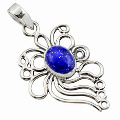 4.30cts natural blue lapis lazuli 925 sterling silver pendant jewelry r14521