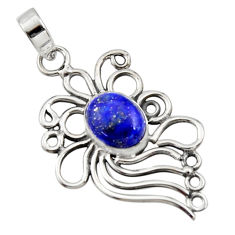 4.22cts natural blue lapis lazuli 925 sterling silver pendant jewelry r14522