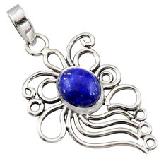 4.21cts natural blue lapis lazuli 925 sterling silver pendant jewelry r14523