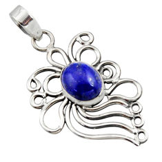 925 sterling silver 4.20cts natural blue lapis lazuli pendant jewelry r14524