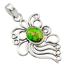 3.83cts green copper turquoise 925 sterling silver pendant jewelry r14525