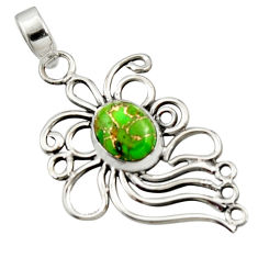 3.83cts green copper turquoise 925 sterling silver pendant jewelry r14526