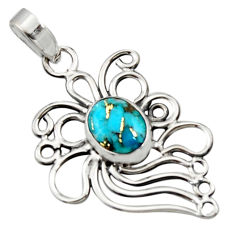 4.00cts blue copper turquoise 925 sterling silver pendant jewelry r14528