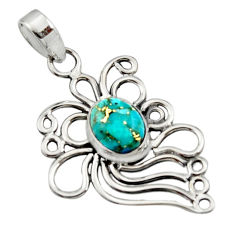 4.02cts blue copper turquoise 925 sterling silver pendant jewelry r14529
