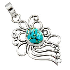 925 sterling silver 3.83cts blue copper turquoise oval pendant jewelry r14531