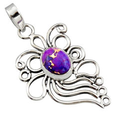 4.02cts purple copper turquoise 925 sterling silver pendant jewelry r14532