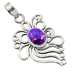 4.03cts purple copper turquoise 925 sterling silver pendant jewelry r14533