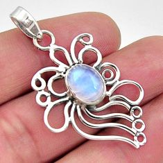 4.52cts natural rainbow moonstone 925 sterling silver pendant jewelry r14535