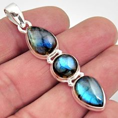 925 sterling silver 13.71cts natural blue labradorite pendant jewelry r14540