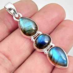 925 sterling silver 13.69cts natural blue labradorite pendant jewelry r14584