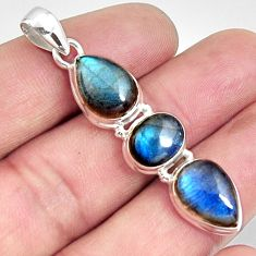 13.26cts natural blue labradorite pear 925 sterling silver pendant r14587