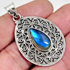 6.12cts natural blue labradorite 925 sterling silver pendant jewelry r14687