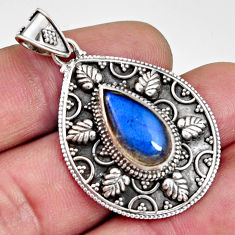 5.81cts natural blue labradorite 925 sterling silver pendant jewelry r14689