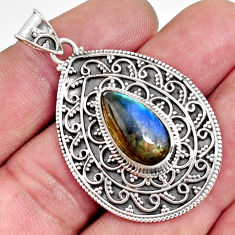 6.61cts natural blue labradorite 925 sterling silver pendant jewelry r14691